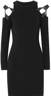 Moschino Cold-shoulder Leather-trimmed Crepe Mini Dress - Black