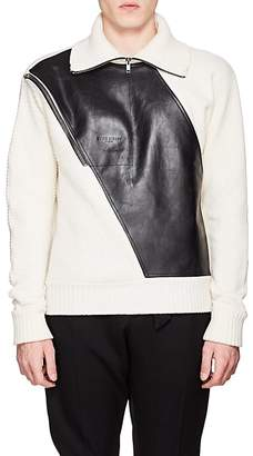 Givenchy Men's Leather-Inset Wool Quarter-Zip Sweater