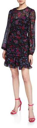 Veronica Beard Robin Floral-Print Long-Sleeve Silk Short Dress