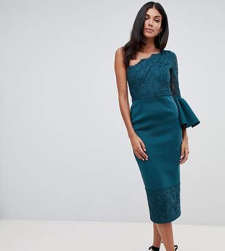 Asos Tall DESIGN Tall one shoulder lace mix midi dress