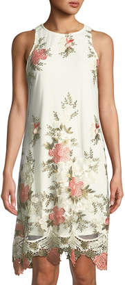 Julia Jordan Sleeveless Floral-Embroidered Mesh Dress