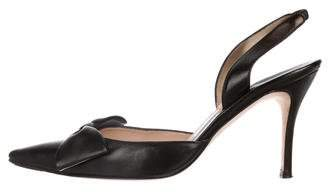 Manolo Blahnik Leather Bow-Accented Slingbacks