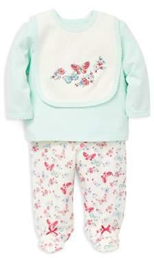 Little Me Girls' Butterfly Tee, Footie Pants & Bib Set - Baby