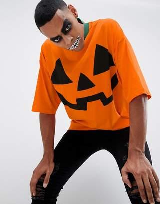 Asos Design DESIGN Halloween oversized t-shirt with pumpkin print and half sleeve