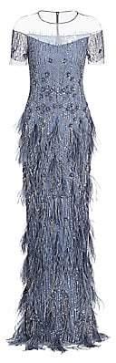 Pamella Roland Women's Sequin & Ostrich Feather Gown