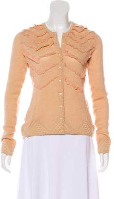 John Galliano Wool Lace-Trimmed Cardigan