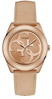 GUESS Women's Stainless Steel Leather Logo Watch