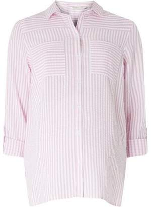 Dorothy Perkins Womens **Maternity Pink and White Striped Seersucker Shirt