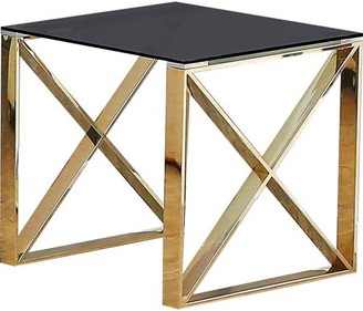 clear Best Quality Furniture Dark Glass End Table with Stainless Steel Legs