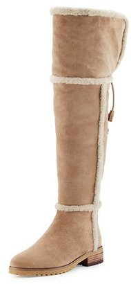 Frye Tamara Shearling Over-The-Knee Boot, Taupe $528 thestylecure.com