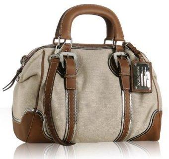Dolce & Gabbana beige canvas leather trim top handle bag