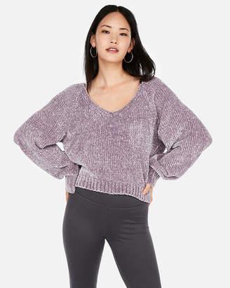 Express Plush Chenille V-Neck Sweater