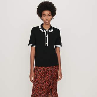 Maje Contrast and jeweled polo-style sweater