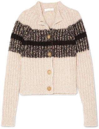Chloé Striped Ribbed Wool-blend Cardigan - Cream