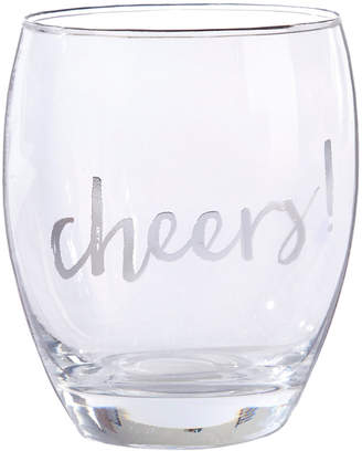 Kate Aspen Set Of 4 Silver Cheers 12Oz Stemless Wine Glasses