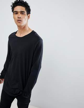 Esprit Longline Long Sleeve T-Shirt With Curved Hem In Black