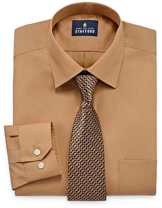 STAFFORD Stafford Stafford Travel Easy-Care Big And Tall Shirt + Tie Set