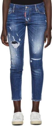 DSQUARED2 Blue Super Skinny Cropped Jeans