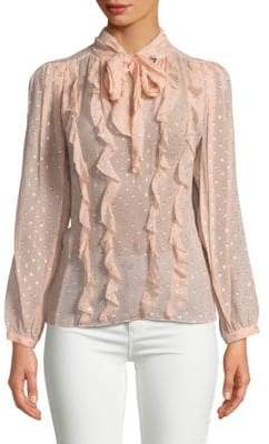 Rebecca Taylor Tie Neck Embellished Ruffled Top