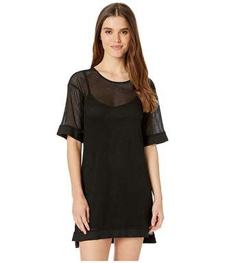 BCBGeneration Short Sleeve Mesh Overlay Dress - TVE6194386