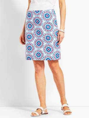 Talbots Stretch Cotton Canvas Skirt-Geo-Daises