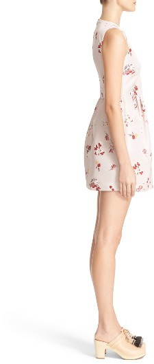 Women's Red Valentino Flower Bouquet Print Faille Dress 3