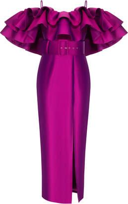 Rasario Ruffled Off-The-Shoulder Silk Satin Dress Size: 38