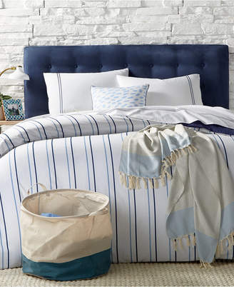 Remodo For Macy's 9-Pc. Alternating Navy Stripe Queen Duvet Cover Boxed Room, Created for Macy's Bedding