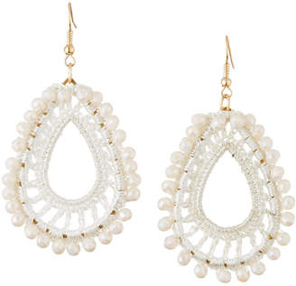 Panacea Crochet & Crystal Teardrop Earrings, White