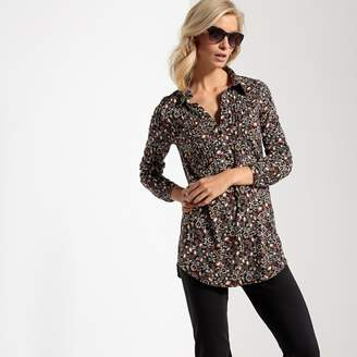 341bdc1891e at La Redoute · Anne Weyburn Printed Loose Fit Cotton Tunic with Shirt  Collar