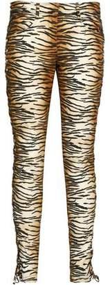A.L.C. Lace-up Printed Stretch-cotton Gabardine Slim-leg Pants