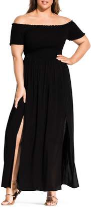 City Chic Summer Passion Off the Shoulder Maxi Sundress