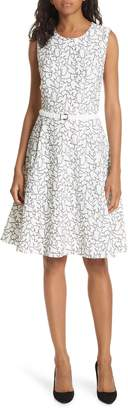 BOSS Denena Embroidered Fit & Flare Dress