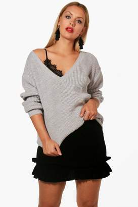 boohoo Plus Shelly V Neck Slouchy Jumper