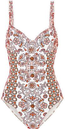 Tory Burch Hicks Garden Printed Underwired Swimsuit - Orange
