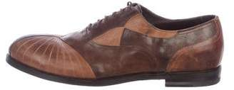 Bottega Veneta Leather Round-Toe Derby Shoes