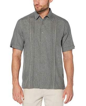 Cubavera Men's Big Embroidered Panel Chambray Shirt