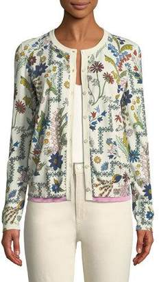 Tory Burch Asher Meadow Floral Cardigan