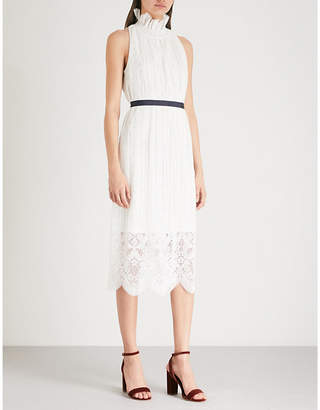 Claudie Pierlot Ruffled floral-lace midi dress