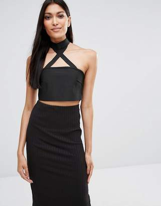 Missguided Exclusive Bandage Choker Bandeau Top