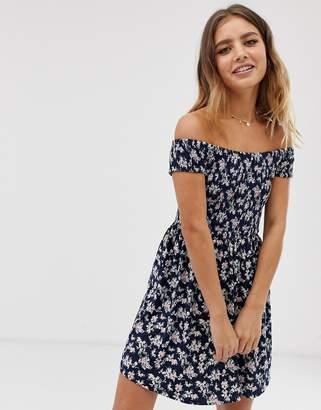 ec0f8b02538 Brave Soul off shoulder Dress with shirring in ditsy floral print