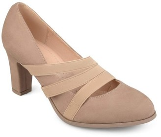 Co Brinley Womens Faux Suede Comfort Sole Chunky Heel Almond Toe Triple Elastic Strap Heels