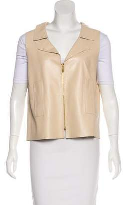 Oscar de la Renta Zip-Up Leather Vest