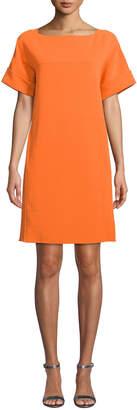Oscar de la Renta Short Sleeve Wool Shift Dress with Back Tie