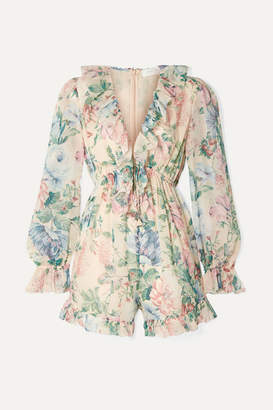 Zimmermann Verity Ruffle-trimmed Floral-print Cotton And Silk-blend Chiffon Playsuit - Pink