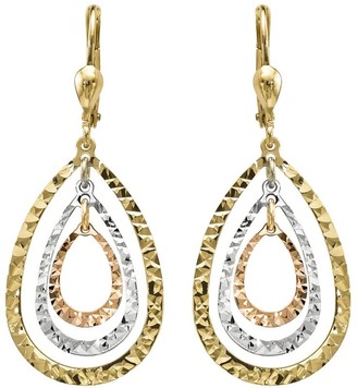 14K Gold Tri-color Nested Teardrop Dangle Earrings