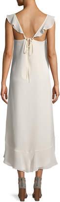 Max Studio Ruffle-Shoulder Floral High-Low Dress