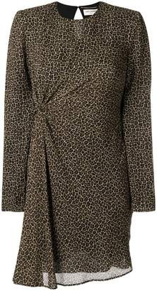 Saint Laurent leopard print ruched dress