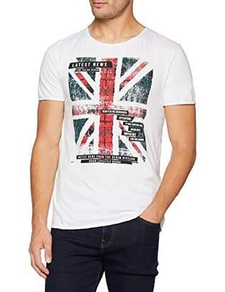 Tom Tailor Men's T-Shirt Mit Englandfahnen Druck (White 20000)
