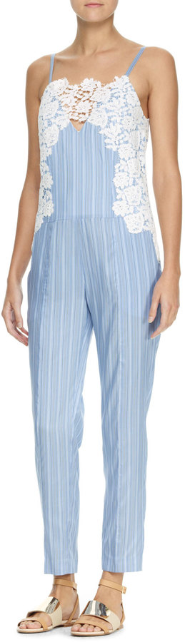 Thakoon Lace-Embroidered Jumpsuit, Blue